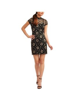 No Boundaries Juniors' Cap Sleeve Mock Neck Lace Dress With Cut Out Back by No Boundaries
