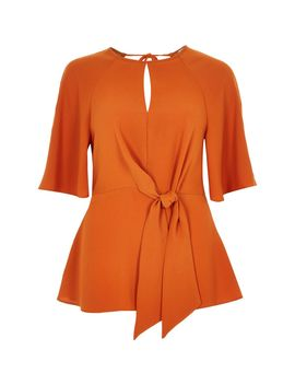 Orange Tie Front Loose Blouse by River Island