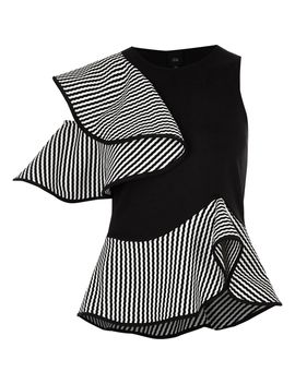Black Mono Textured Frill Sleeveless Top by River Island