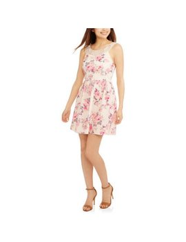 No Boundaries Juniors' Printed Floral Crochet Neck Dress by No Boundaries