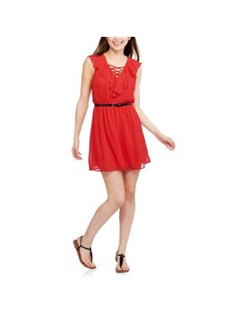 No Boundaries Juniors' Ruffle Front Easy Waist Dress by No Boundaries