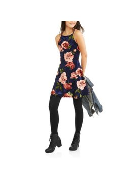 Poof! Juniors' High Neck Floral Printed Velvet Skater Dress by Generic