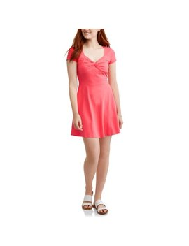No Boundaries Juniors' Brushed Short Sleeve Knotted Front Skater Dress by No Boundaries