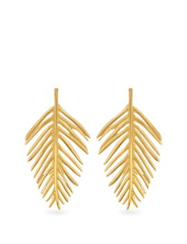 Palm Leaf Drop Earrings by Oscar De La Renta