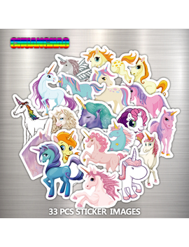 33 Pcs Mixed Dream Sticker Unicorn Cute Cartoon Anime Toy Kids Stickers For Diy Portable Phone Luggage Skateboard Room Stickers by Xing Qi Store