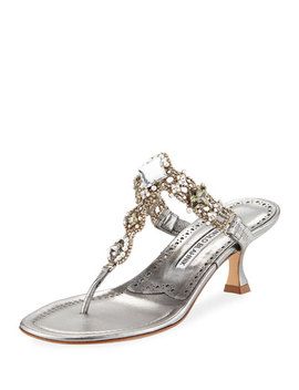 Immro 50mm Jeweled Thong Sandal by Manolo Blahnik