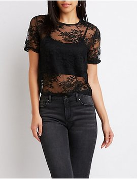 Crew Neck Lace Crop Top by Charlotte Russe