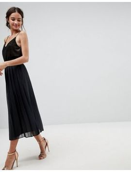 Asos Pleated Midi Skirt With Paperbag Waist In Chiffon by Asos Collection
