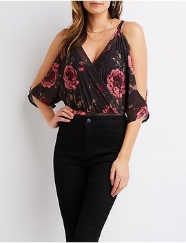 Floral Surplice Cold Shoulder Bodysuit by Charlotte Russe