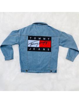 Tommy Hilfiger, Tommy Jeans, Hilfiger Denim, Tommy Hilfiger Jeans, Denim Jacket Patch, Blue Jean Jacket, Custom Jean Jacket, Tommy Sweater by Etsy