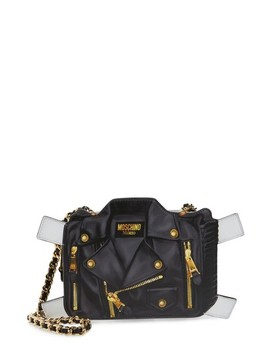 Paper Doll Biker Leather Shoulder Bag by Moschino