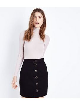 Black Twill Button Front Mini Skirt by New Look