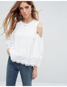 Asos Top With Cold Shoulder In Ponte With Broderie Shirting Trim by Asos Collection