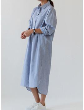 Pinstripe Longline Shirt Dress by Sheinside