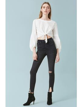 Sculpted High Rise Split Hem Skinny Jeans by F21 Contemporary