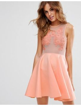Asos Lace Applique & Mesh Mix Skater Mini Dress by Asos Collection