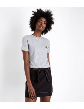 Grey Marl Cherry Logo Fitted T Shirt by New Look