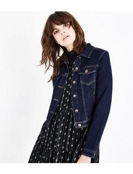 Dark Blue Contrast Stitch Denim Jacket by New Look