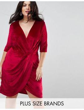 Club L Plus Velour Wrap Front Dress by Club L