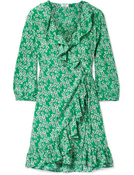 Abigail Ruffled Floral Print Silk Twill Wrap Mini Dress by Rixo London