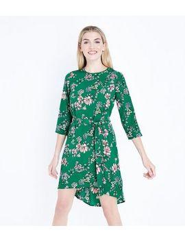 Green Floral Print Dip Hem Crepe Dress by New Look