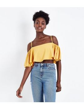 Yellow Flutter Sleeve Cold Shoulder Crop Top by New Look