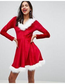 Club L Christmas Sexy Santa Hooded Skater Dress With Faux Fur Trim by Club L
