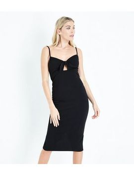 Black Bow Front Bodycon Midi Dress by New Look