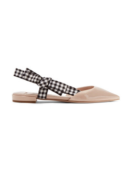 Patent Leather Point Toe Flats by Miu Miu