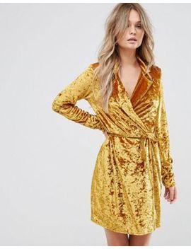 Club L Crushed Gold Velvet Wrap Dress by Club L