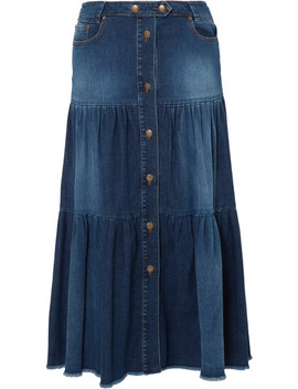 Tiered Denim Midi Skirt by Red Valentino