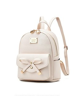 B&E Life Stylish Girls Ladies Pu Leather Backpack Shoulder Bag Purse Crossbody (Small Beige) by B&E Life