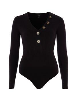 Black Rib V Neck Button Long Sleeve Bodysuit by River Island