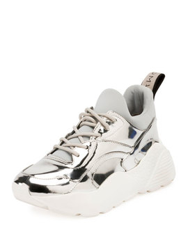 Runway Metallic Lace Up Sneaker by Stella Mc Cartney