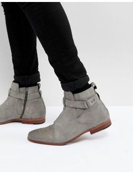 Asos Chelsea Boots In Grey Suede With Strap Detail by Asos