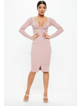 Pink Long Sleeve Popper Midi Dress by Missguided