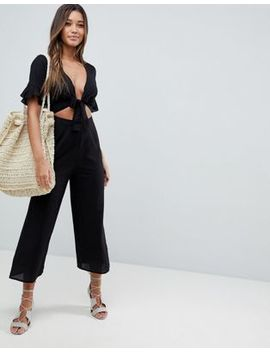 Asos Design Tea Jumpsuit With Cut Out And Tie Detail In Linen by Asos Collection