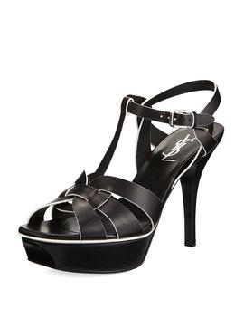 Tribute Leather Platform Sandal, Black by Saint Laurent