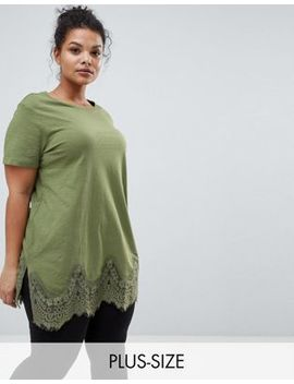New Look Curve Lace Hem Boyfriend Tee by New Look Curve
