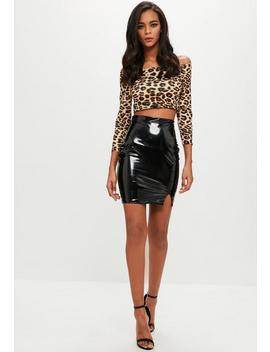 Petite Brown Leopard Bardot Crop by Missguided