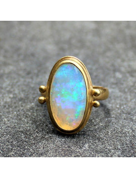 Opal Ring   Opal Gold Ring   Faceted Opal Ring   18 Kt Gold Ring   Solid Gold Ring   Ethiopian Opal   Welo Opal Ring   Large Opal Ring   8.5 by Etsy