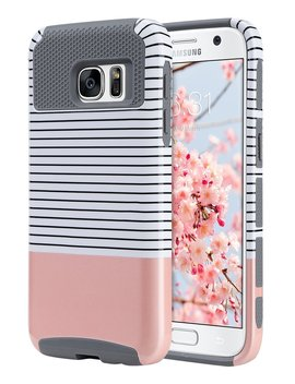 S7 Case, Galaxy S7 Case, Ulak Hybrid Case For Samsung Galaxy S7 2016 Release 2 Piece Dual Layer Style Hard Cover ( Minimal Rose Gold Stripes+Grey) Will Not Fit S7 Edge by Ulak