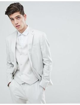 Asos Slim Suit Jacket In Ice Gray 100 Percents Wool by Asos
