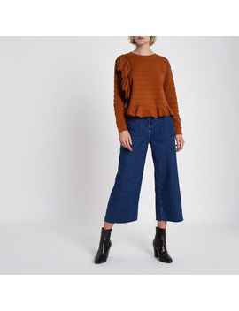 Brown Jacquard Frill Long Sleeve Top by River Island