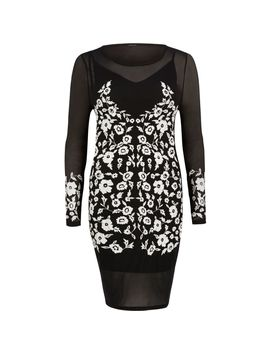 Black Embroidered Bodycon Dress by River Island