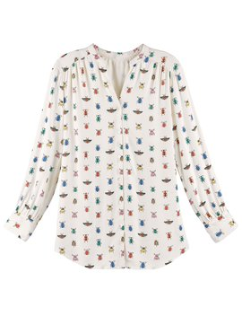 Catalog Classics Women's Blouse   Colorful Bug Me Print Button Down Shirt by Catalog Classics