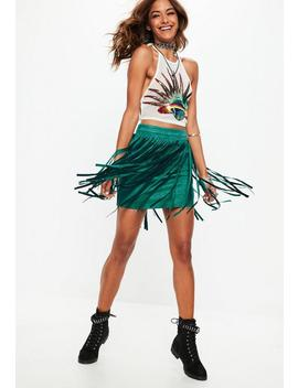 Forest Green Fringe Suede Mini Skirt   Festival by Missguided