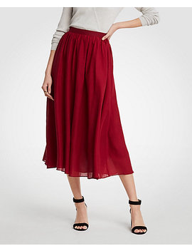 Petite Cotton Gauze Midi Skirt by Ann Taylor