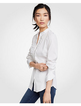 Petite Pleated Ruffle Perfect Shirt by Ann Taylor