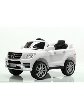 Electric 6 V Car Mercedes Ml350 Ride On For Kids Power Wheels With Remote Control Opening Doors Led Lights Leather Seat Mp3   White by Mercedes
